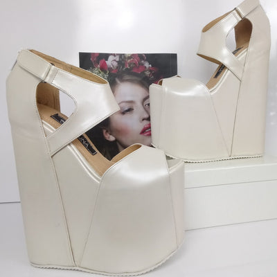 Extra High Heel Wedges Ivory Hidden - Tajna Club