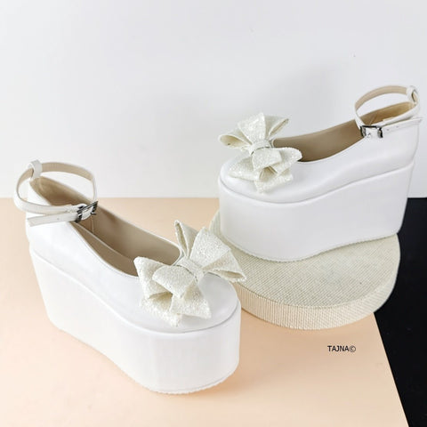 White Ribbon Flat Wedge Wedding Heels - Tajna Club