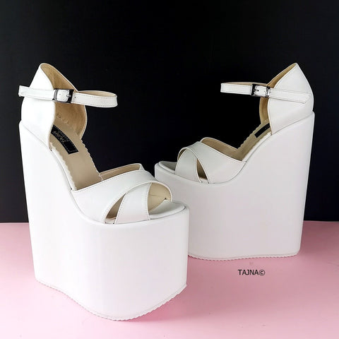 White Cross Strap Extreme Heel Wedges - Tajna Club