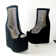 Black Fishnet Ankle Wedge Platforms - Tajna Club
