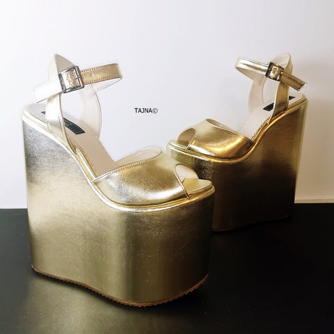 Golden Extreme Heel Wedge Sandals - Tajna Club