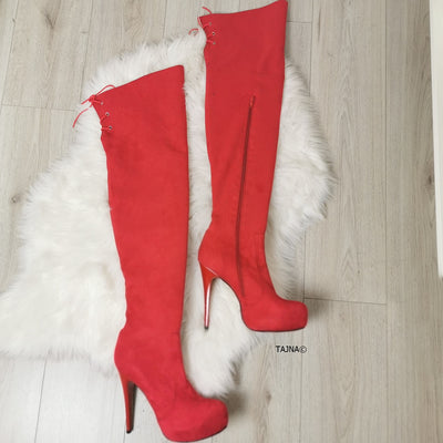 Red Suede Knee High Boots - Tajna Club