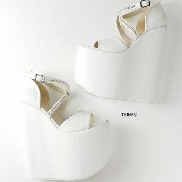White Gemstone Cross Strap Platform Wedges - Tajna Club