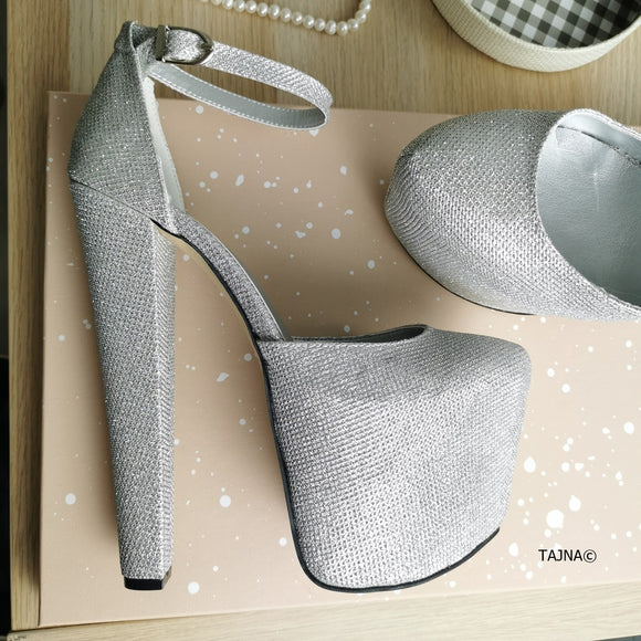 Silver Shine Ankle Strap High Heels - Tajna Club