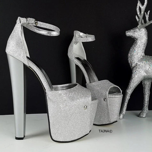 Silver Shine High Heel Shoes - Tajna Club