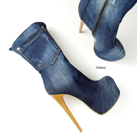 Blue Jean High Heel Boots - Tajna Club