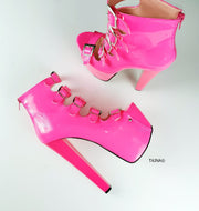 Neon Pink Patent Multi Belted High Heels - Tajna Club