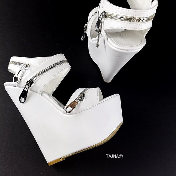 White Zipper Detail Wedge Sandals - Tajna Club