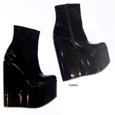 Patent Black Platform Wedge Boots - Tajna Club