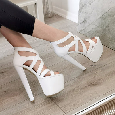 White Multi Cross Strap High Heel Shoes - Tajna Club