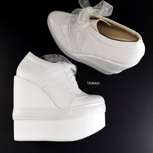 White Sport High Heel Wedge Shoes - Tajna Club