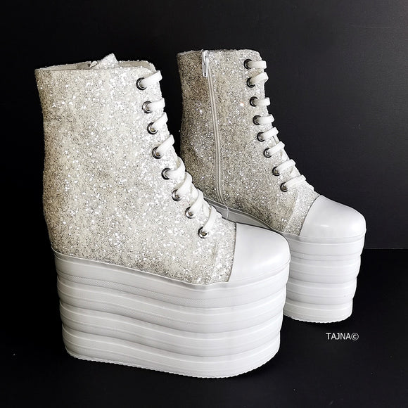 White Glitter Lace Up Sport Wedges - Tajna Club