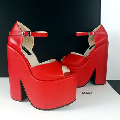 Red Ankle Strap Extreme Heel  Wedges - Tajna Club