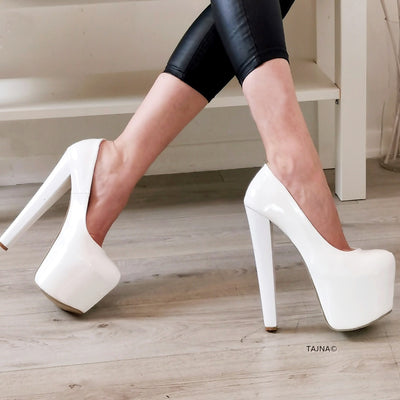 White Patent High Heel Platform Shoes - Tajna Club