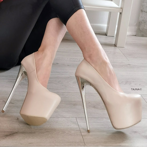 Nude Cream High Heel Pumps - Tajna Club