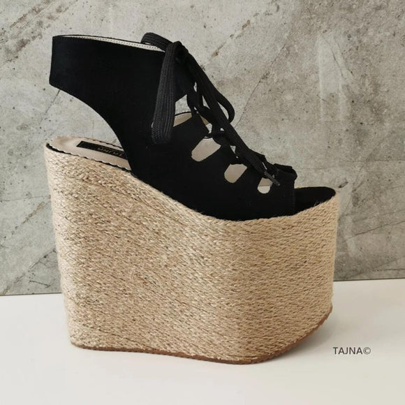 Gladiator Lace Up Black Wedge Espadrils - Tajna Club