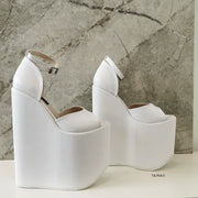 White Ankle Strap Platform Bride Wedges - Tajna Club