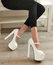 White Fish Mouth Mary Jane High Heels - Tajna Club