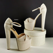 Cream Nude Suede Cross Strap Heels - Tajna Club