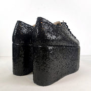 Black Glitter Sneakers Wedge Platform Shoes - Tajna Club