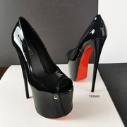 Black Patent Peep Toe High Heel Shoes - Tajna Club