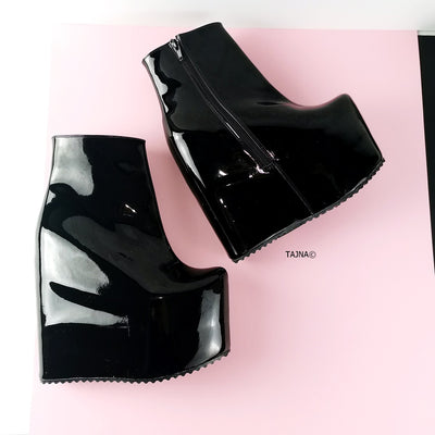 Hidden Platform Black Patent Wedge Booties - Tajna Club