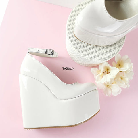 Light Nude Patent Ankle Strap Bridal Wedges - Tajna Club