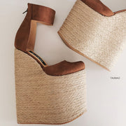 Espadril Extreme Heel Strap Wedge Shoes - Tajna Club