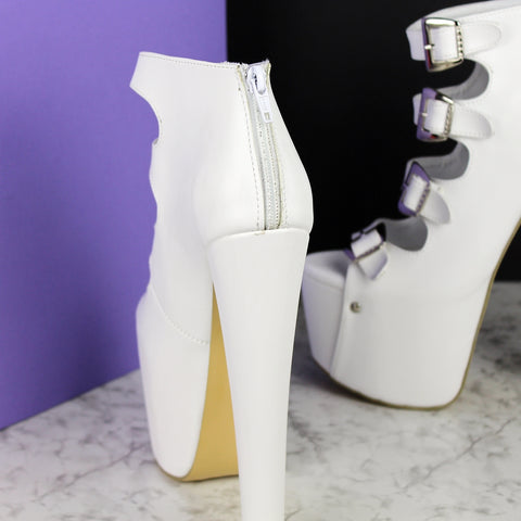 Multi Belted White Ankle Heels - Tajna Club