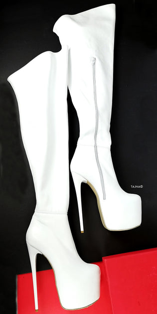 Genuine Leather White Thigh High Boots