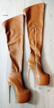 Genuine Leather Tobacco Brown Thigh High Boots - Tajna Club