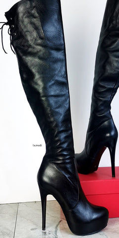 Black Genuine Leather Over The Knee Boots - Tajna Club