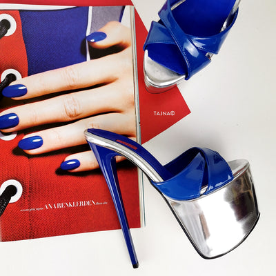 Genuine Leather Blue Silver Heel Mules - Tajna Club