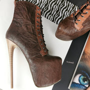 Brown Lace Up Genuine Leather Boots - Tajna Club