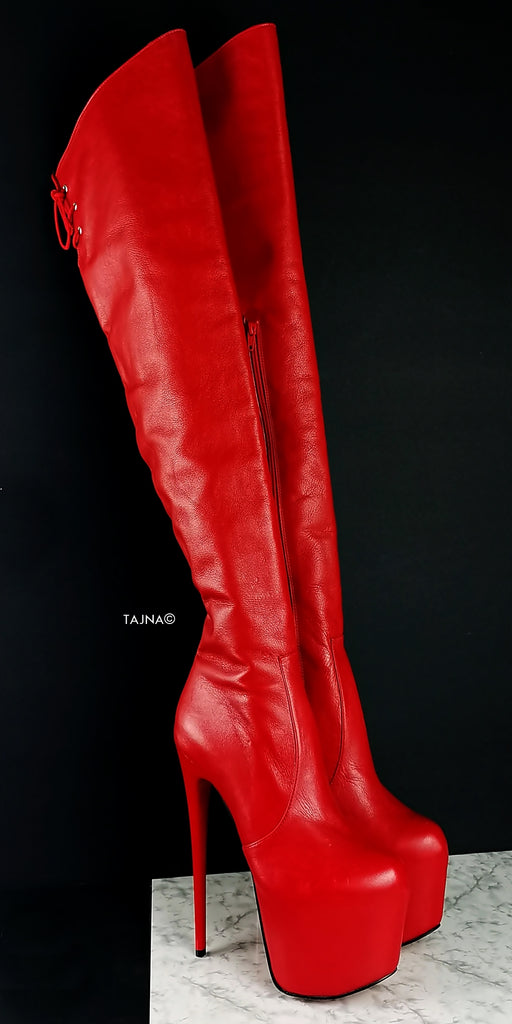 Red Genuine Leather Over The Knee Boots
