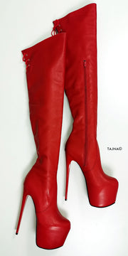 Red Genuine Leather Over The Knee Boots - Tajna Club