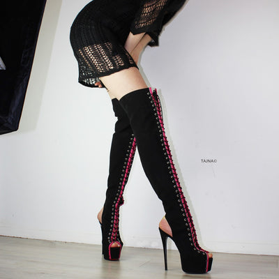 Gladiator Black Pink Knee High Boots - Tajna Club
