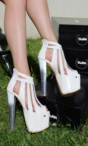 Glassy White Stripe Highe Heel Platform Shoes - Tajna Club