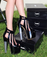 Black Stripe Transparent Peep Toe Glassy Heel Platforms - Tajna Club