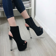 Ankle Glassy Heels Black Open Back - Tajna Club
