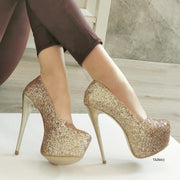 Gold Glitter Shiny High Heels - Tajna Club
