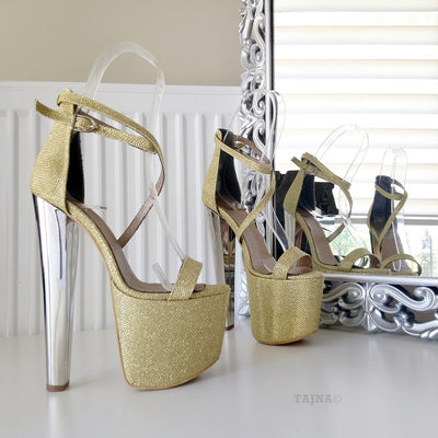 Ankle Strap Gold Shimmer 19 cm High Heel Platform Shoes - Tajna Club