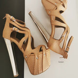 Gold Copper Cross Strap Cage Platforms - Tajna Club