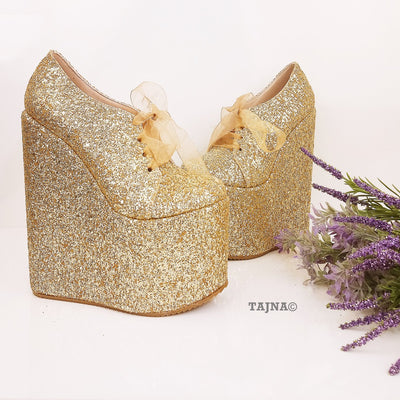 Gold Shinny Lace Up Shinny Wedge Platform Shoes - Tajna Club