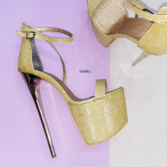 Gold Shiny Shimmer High Heel Sandals - Tajna Club