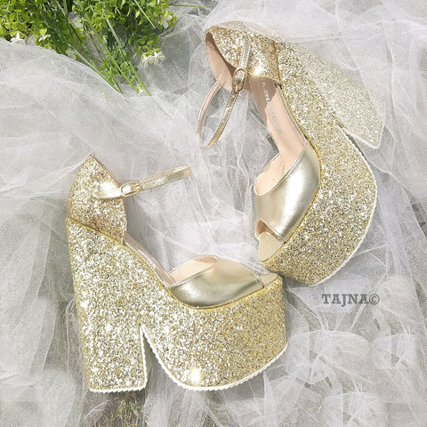 Ankle Strap Gold Shimmer Platform Wedge Sandals - Tajna Club
