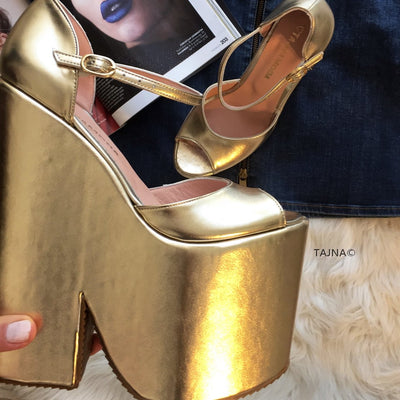 Golden Extreme Heel Strap Wedge Shoes - Tajna Club