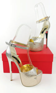Ankle Strap Gold Metallic Platform Heels - Tajna Club