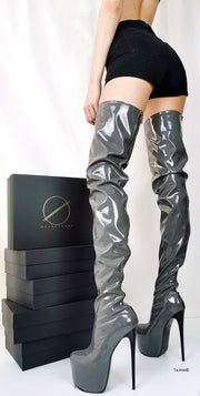 Gray Gloss Back Zipper Thigh High Boots - Tajna Club