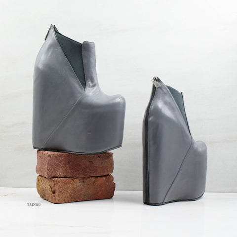 Gray Platform High Heel Wedge Booties - Tajna Club